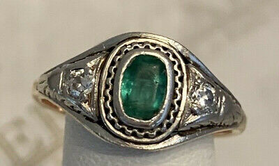 Antique Art Deco 14k tt Oval Emerald & 2 Diamond Etched ring .38 tw H-I1 size 6