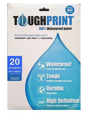 A3 Water Proof Paper - Pack of 20 sheets for Inkjet printers