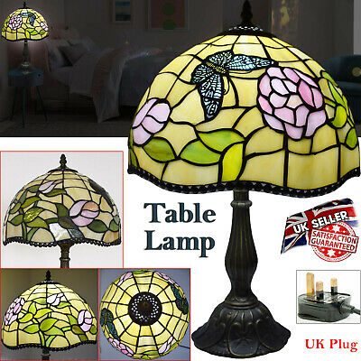 "TIFFANY Table Lamp 12"" Antique Style Multi Colour Bed/Living Room Hand Crafted"