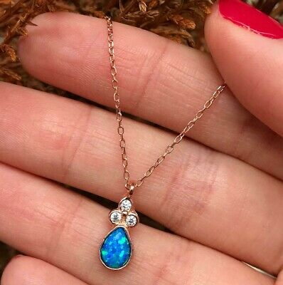 925 Sterling Silver Handmade Rose Gold Plated Blue Opal Zircon Ladies Necklace