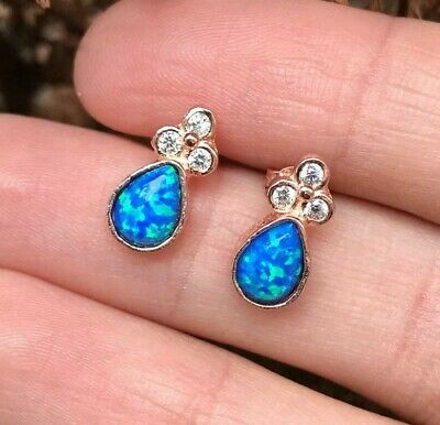 925 Sterling Silver Handmade Rose Gold Plated Blue Opal Zircon Ladies Earring