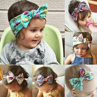 Cute Rabbit Ears Girl Baby Floral Headband Head Wrap Bow Knot Hairband Turban