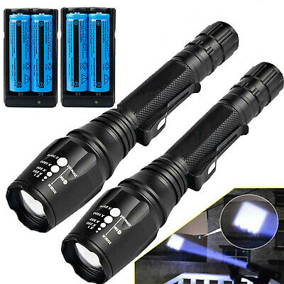 Tactical Police 990000Lumens Bright 5 Modes 18650 Flashlight Aluminum Zoom Torch