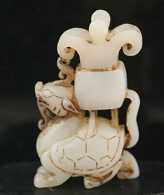 Old Chinese natural hetian jade hand-carved dragon