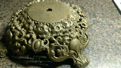 Antique Vintage Solid Brass Lamp Base Ornate Footed 2.24 Lbs Part Piece