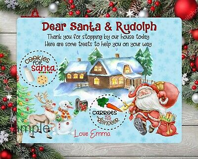 PERSONALISED GIFT Christmas eve treat board 33 x 23cms Santa Plate//Board