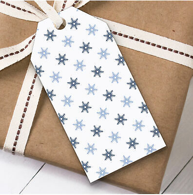 Navy Blue White Flakes Christmas Gift Tags (Present Favor Labels)