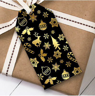 Black And Gold Pattern Christmas Gift Tags (Present Favor Labels)
