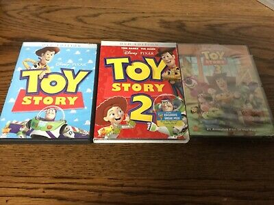 3 Disney TOY STORY animated DVD Lot: trilogy ~ 1 - 2 new with slipcover - 3 new