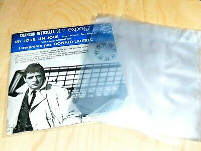 50 Vinyl Record Sleeves 7' Clear Polypropelene 2 Mil Stdrd Outer 45Rpm