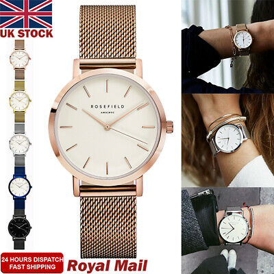 Mens Women Ladies Watch Rose Gold Silver Stainless Steel Mesh Band Wrist Watches