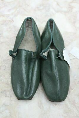 Pair Vintage Childs Hand Made Green Leather Shoes