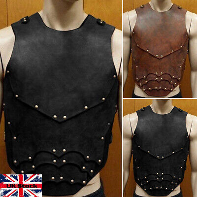 Vintage Breastplate Medieval Faux Leather Armor For Larp Theatre Cosplay UK