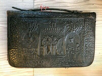 Antique 1920 Lawyer Solicitors Egyptian Hand Tooled Solid Leather Briefcase