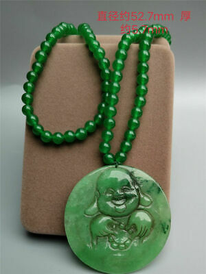 "2.07"" China Exquisit natural jadite jade Hand-carved Maitreya Pendant & Necklace"