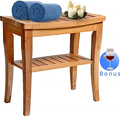 House Ur Home Bamboo Shower Bench Seat Wooden Spa Bath Deluxe Organizer Stool