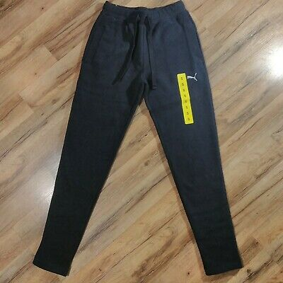 Puma Mens Fleece Pants Size Small Black Quarry New With Tags Sweatpants 752842