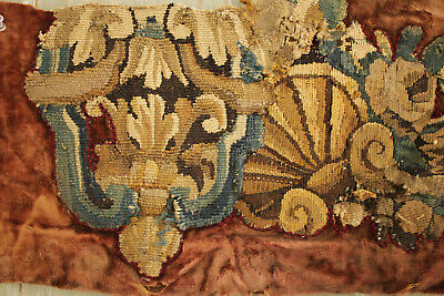 Tapestry Antique French Aubusson Fragment Needlepoint Border Fabric 18th Century