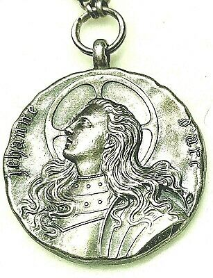 Antique Scarce Depose Joan Of Arc Solid Silver Medal Pendant Chain 1800s Priests
