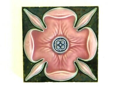 Antique ART NOUVEAU Stylized PINK FLOWER England ART TILE Floral Vtg MAJOLICA