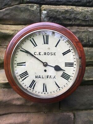 Antique Mahogany Fusee Dial Clock Rose Halifax