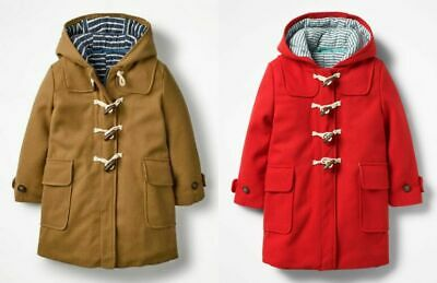 Boden Girls Wool Mix Winter Traditional Duffle Coat Ages 2-16  Bnwot Red /Camel