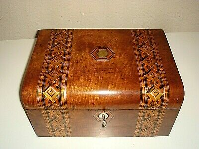Antique,Victorian Walnut Tunbridge Parquetry Jewellery,Sewing,Work Box