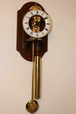 HERMLE SKELETON WALL CLOCK 8 day, bell strike LANTERN TYPE with WOODEN MOUNT