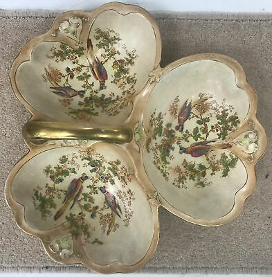 Antique Crown Ducal Hand Painted Triple section Serving Dish With Handle #439