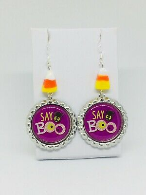 Halloween Boo WHimsical   French Hook  Earrings With Candy Corn Glass Beads