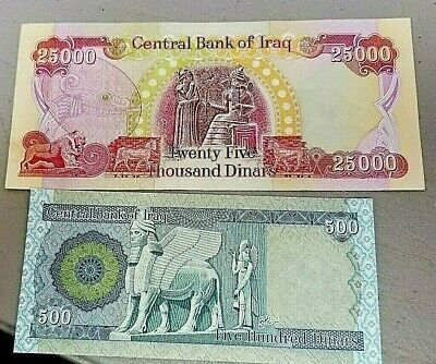 25,000-1x-25000 UNCIRCULATED Iraqi Dinar notes *Free 1 x 500 IQD Note