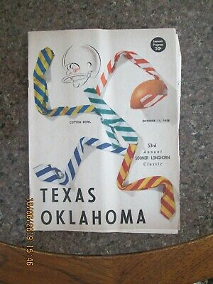 1958 TEXAS LONGHORNS vs Oklahoma Sooners FOOTBALL PROGRAM READ DESCRIPTION