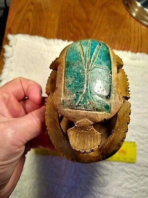 rare ancient egyptian glazed carved scarab-w/inscriptions-luck,1353-1336B.C.!
