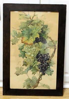 Excellent quality 1903 still life watercolor by J.W Wigly Oak arts and Crafts