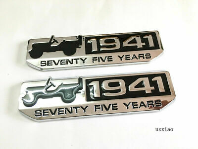 NEW 2Pcs Chrome 1941 75th Anniversary Badge Emblem Stickers for all cars