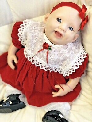 "Reborn 19"" Bountiful Baby Girl Doll w/ Blue Eyes & Vinyl Body"