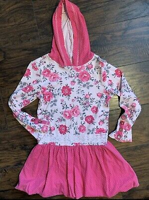 Naartjie Long Sleeve Hoodie Floral Polka Dot Skirted Dress Girls Size 9years