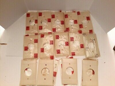 14 NOS Sierra Single Electrical Plates/Receptacles, D-7, One Gang, Ribbed Ivory