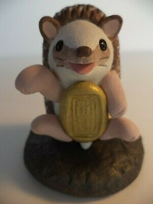 "2 1/2"" Artisan Made Heavy Pottery Fortune Hedgehog  Figurine Sculpture Statue"