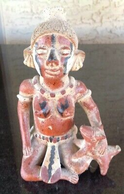 Vintage Precolumbian Style, Mayan Terra-cotta FeMale Figure Seated With Dog