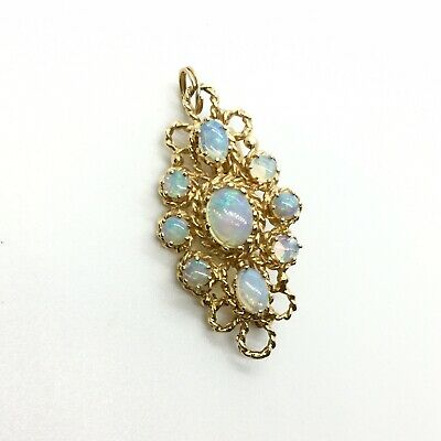 14K Solid Gold Victorian Natural Fire Opal Brooch And Pendant Necklace Estate