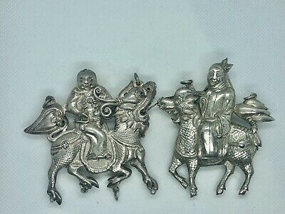 Chinese Silver Repousse Qilin Kylin  Pendant