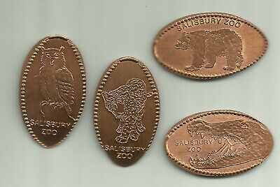 4 copper elongated pennies (cents) SALISBURY ZOO Salisbury MD Retired m#1