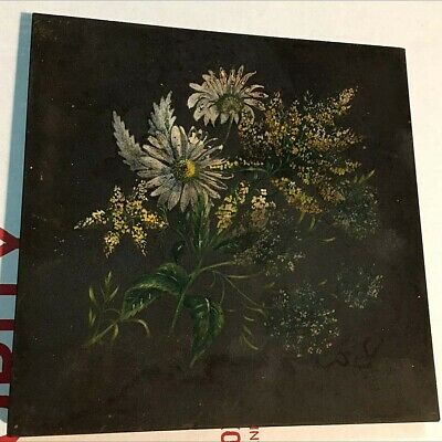 Original 19th C UK made Minton Hollins Artistic Hand Painted Floral Ceramic Tile