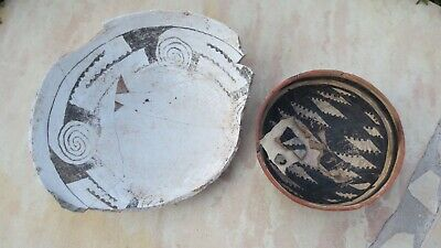 2 Authentic Anasazi & Gila Bowls Pueblo Pottery Pre-columbian No Resto