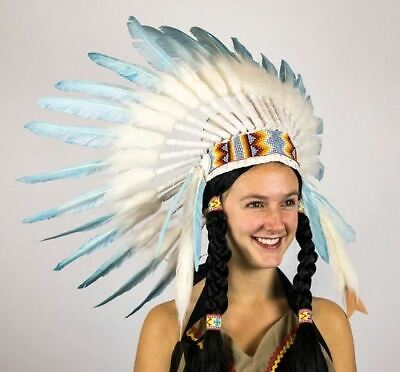 Turquoise Indian Native American Headdress Chief War Bonnet Costume Accessory