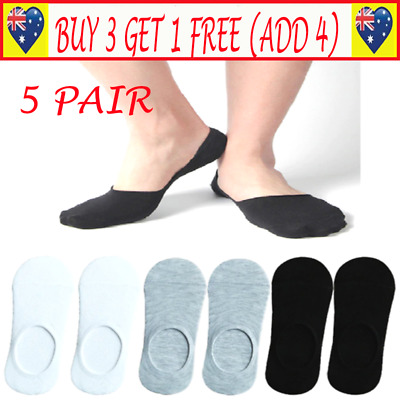 5 Pairs Men Women Invisible Low Cut No Show Footlet Socks Cotton Rich No-Slip G