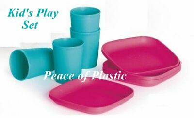 Tupperware New Childrens Miniature Toy PLAY Set 4- Pink Plates 4- Blue Tumblers