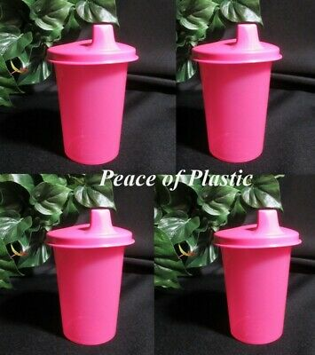 Tupperware New Set of 4 Pink Kids Toddlers Bell Tumblers with Sippy Seals
