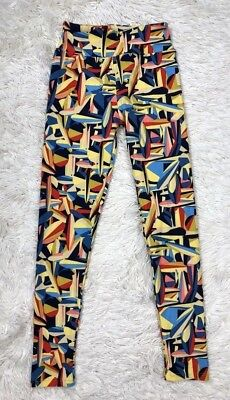 Lularoe Tween Kids Stretch Pants Geometric Yellow Blue Red Leggings Girls Pant